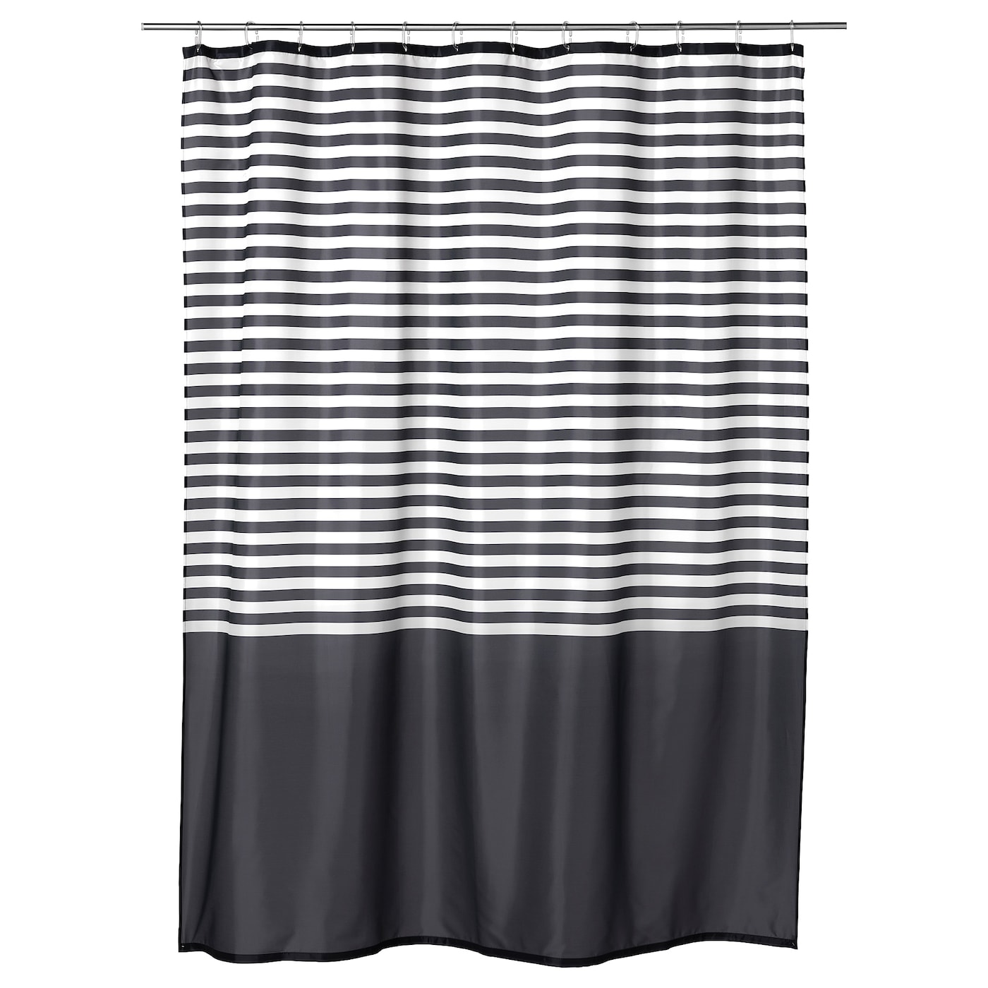 IKEA VADSJÖN shower curtain Densely-woven polyester fabric with water-repellent coating.