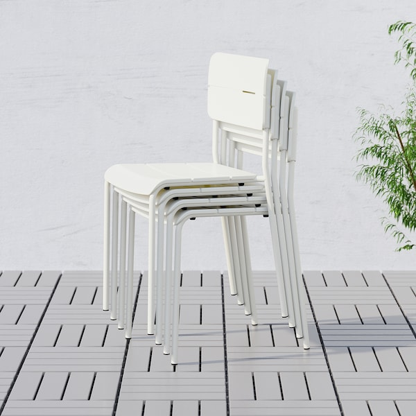 VÄDDÖ table+4 chairs, outdoor white