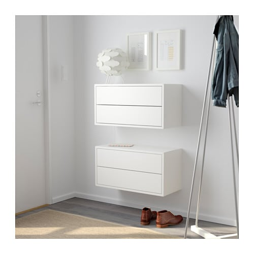 VALJE Wall cabinet with 2 drawers White 68x35 cm - IKEA