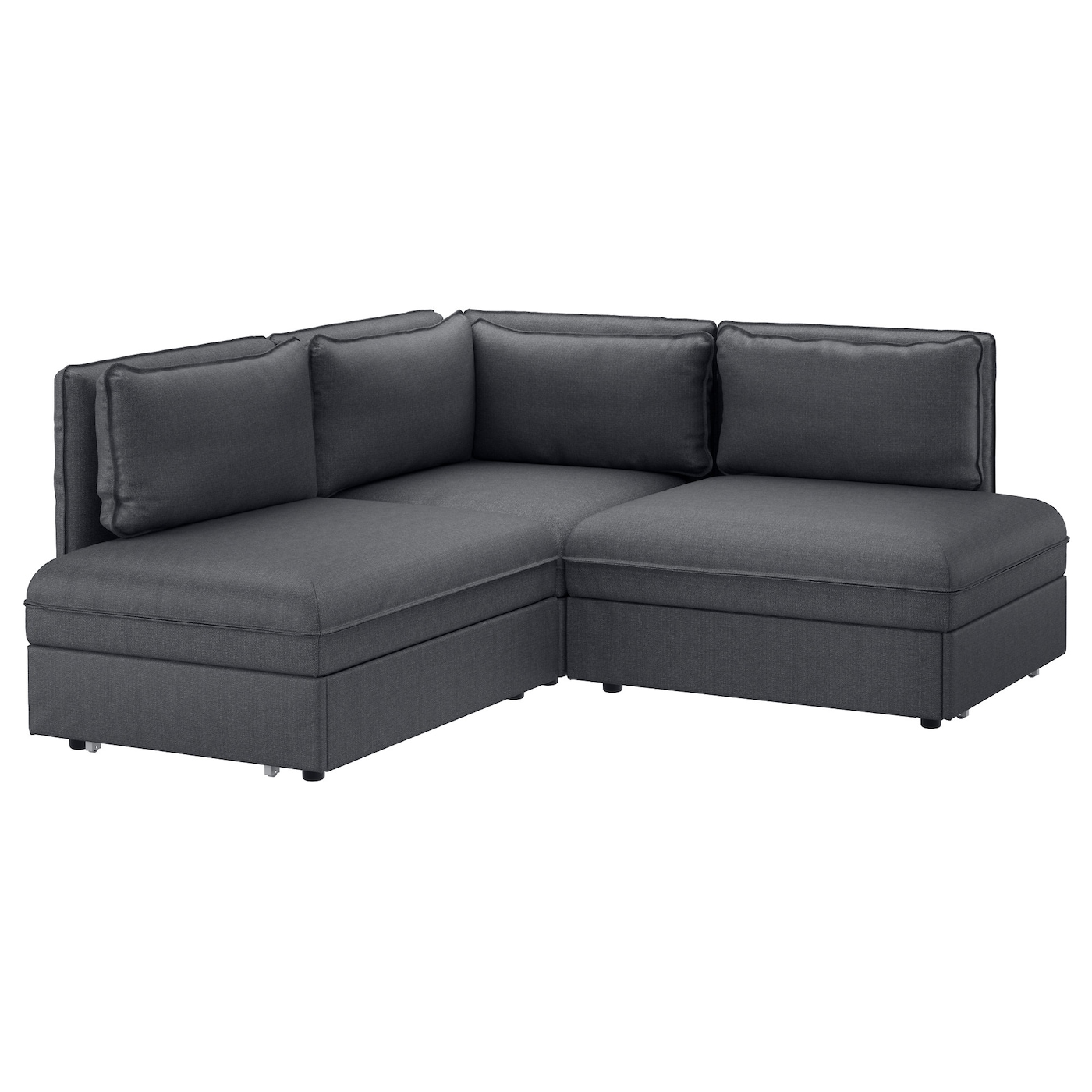 vallentuna 3 seat corner sofa with bed hillared dark grey. Black Bedroom Furniture Sets. Home Design Ideas