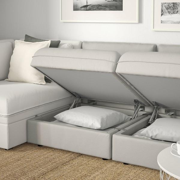 VALLENTUNA 3-seat modular sofa with sofa-bed, and storage/Ramna/Murum light grey/white