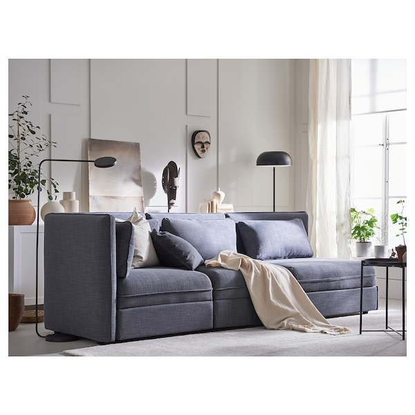 VALLENTUNA 3-seat modular sofa with sofa-bed, with open end/Hillared dark grey