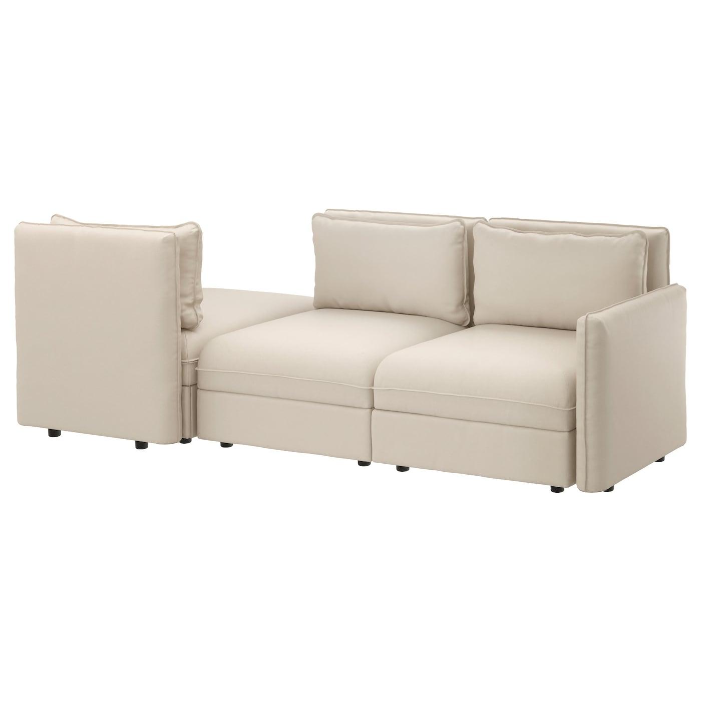 vallentuna 3 seat sofa with bed ramna dark beige ikea. Black Bedroom Furniture Sets. Home Design Ideas
