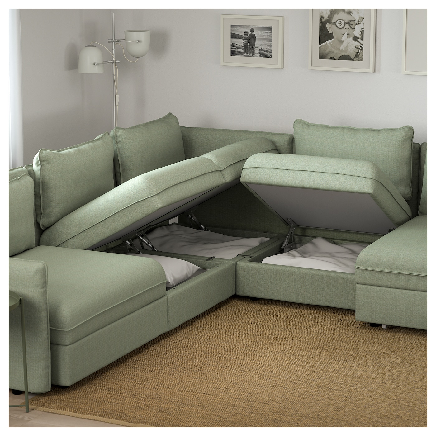 Vallentuna 6 seat corner sofa with bed hillared green ikea - Vallentuna ikea ...