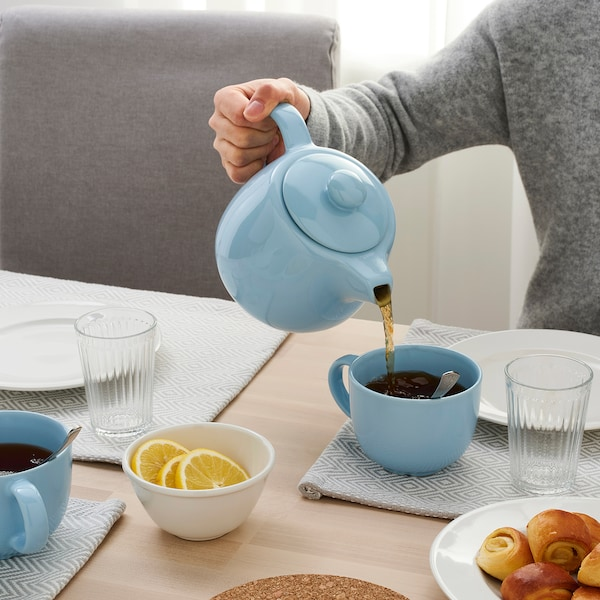 VARDAGEN Teapot, blue, 1.2 l