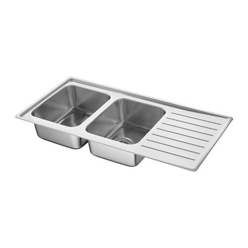 Stainless Steel Sinks Ireland : IKEA VATTUDALEN inset sink, 2 bowls with drainboard