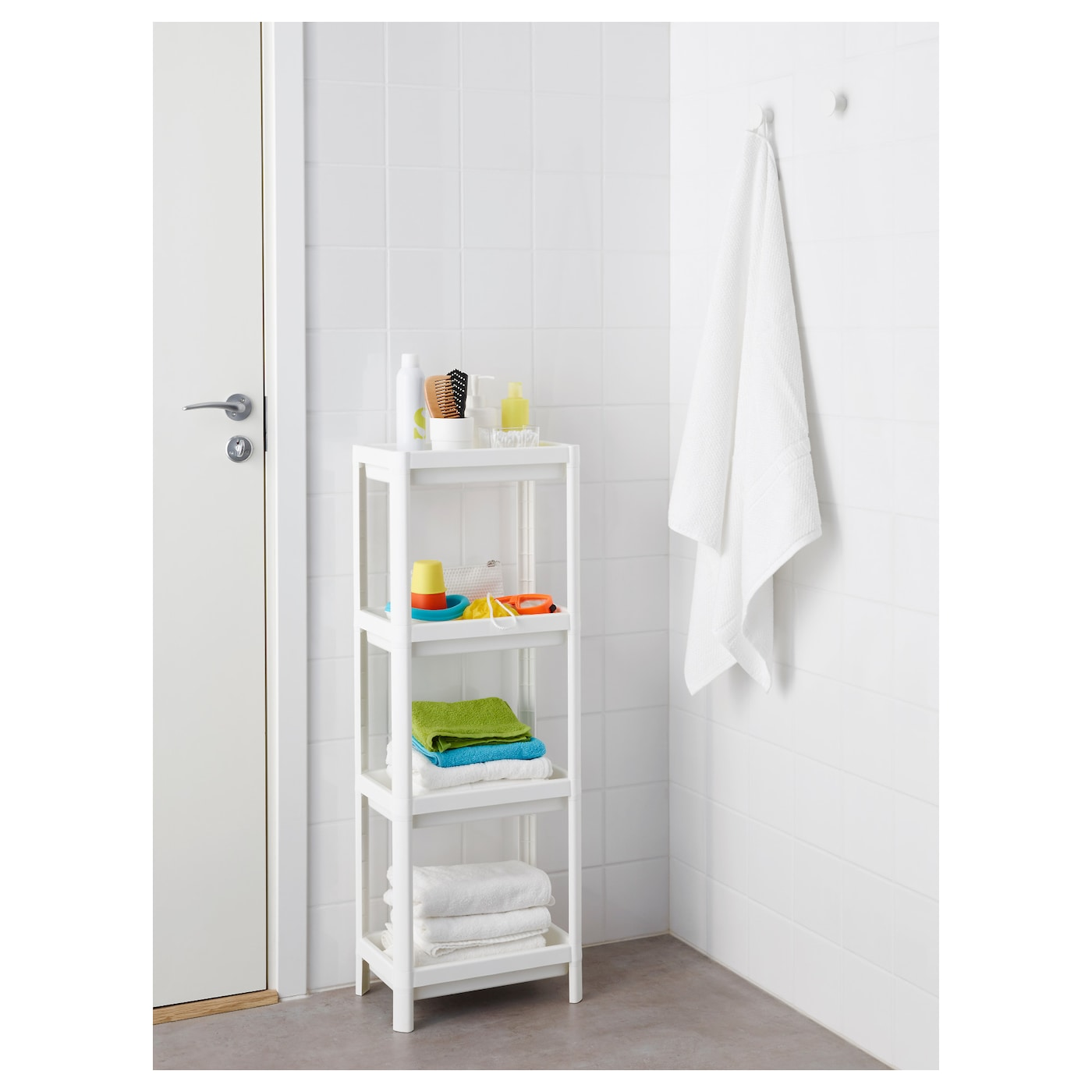 IKEA VESKEN shelf unit Perfect in a small bathroom.