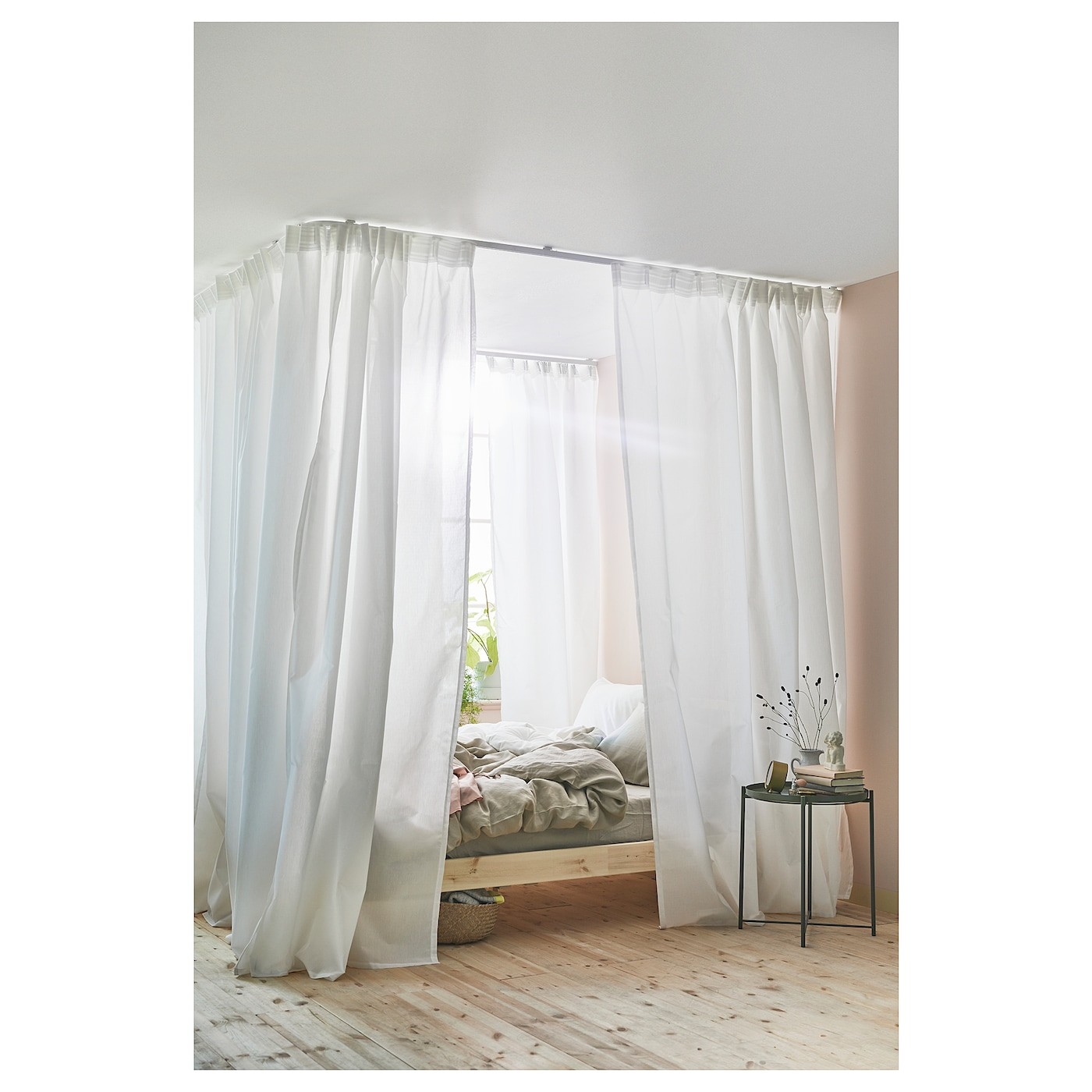 IKEA VIDGA Room Divider For Corner The Rail Can Be Cut To Desired Length With