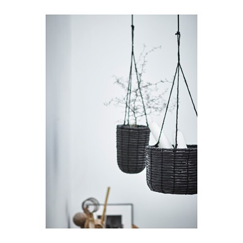 Viktigt hanging planter set of 2 black ikea for Black planters ikea