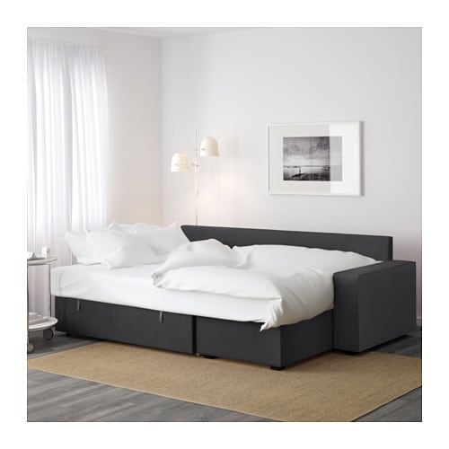 Vilasund sofa bed with chaise longue dansbo dark grey ikea for Chaise longue bed