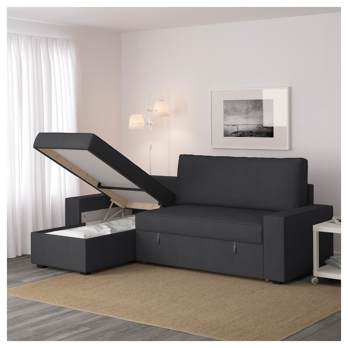 Vilasund sofa bed with chaise longue dansbo dark grey ikea - Chaise longue en rotin ancienne ...