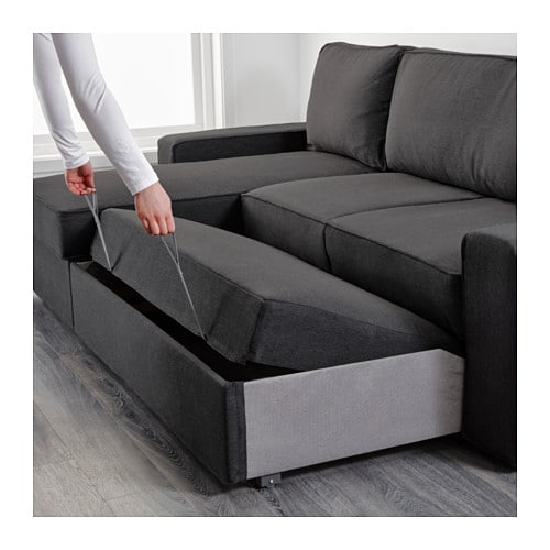 Vilasund sofa bed with chaise longue dansbo dark grey ikea for Chaise longue double sofa bed