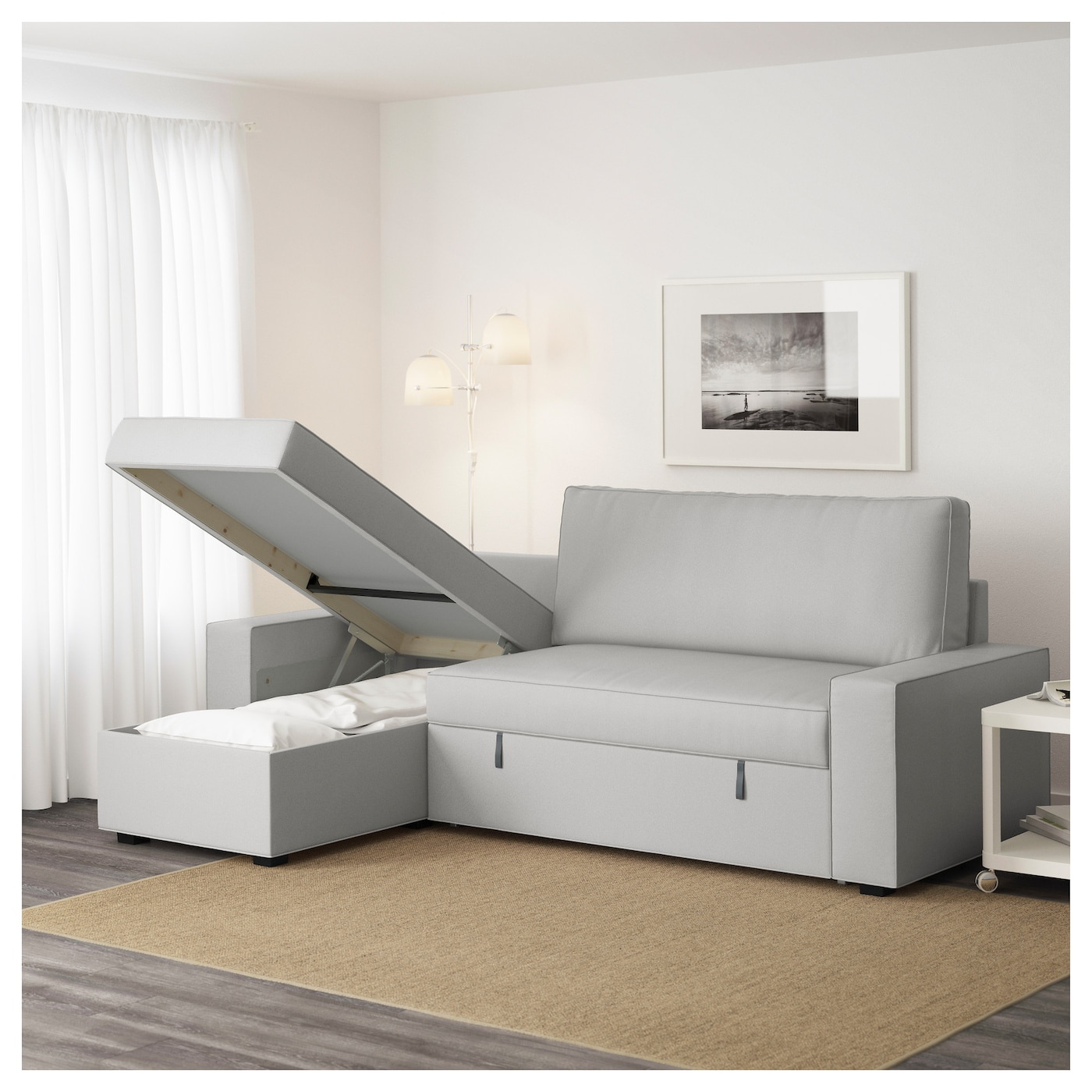 vilasund sofa bed with chaise longue ramna light grey ikea. Black Bedroom Furniture Sets. Home Design Ideas