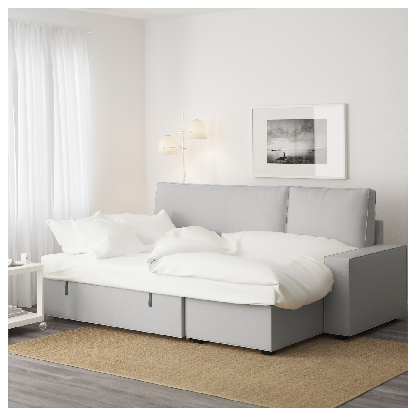 Vilasund sofa bed with chaise longue ramna light grey ikea for Chaise longue bed