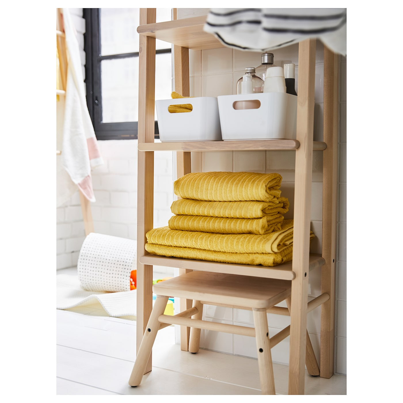 IKEA VILTO step stool Adjustable feet for increased stability and protection against floor moisture.