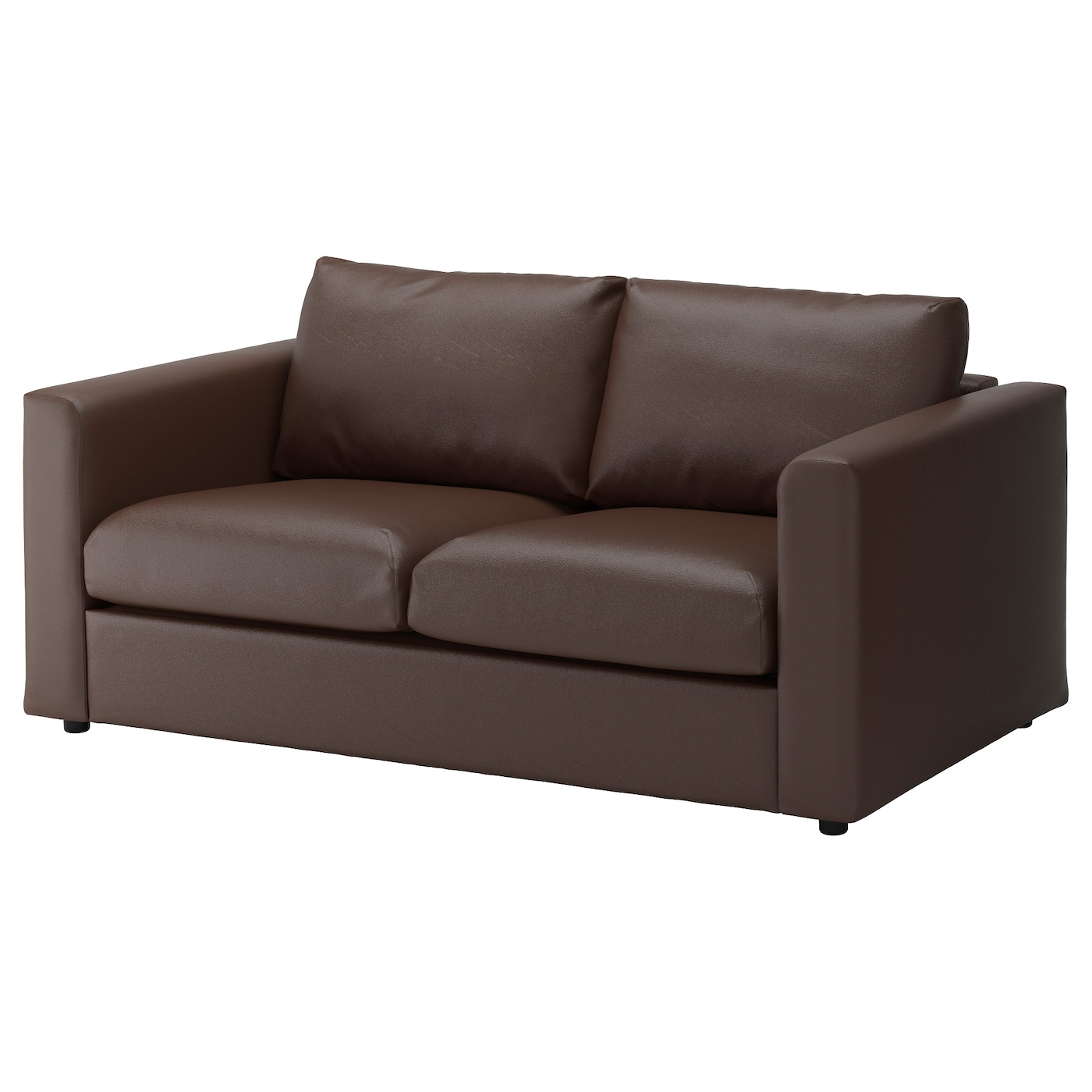 Vimle 2 seat sofa farsta dark brown ikea for Brown fabric couch