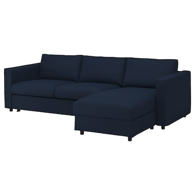 VIMLE 3-seat sofa-bed, with chaise longue/Gräsbo black-blue