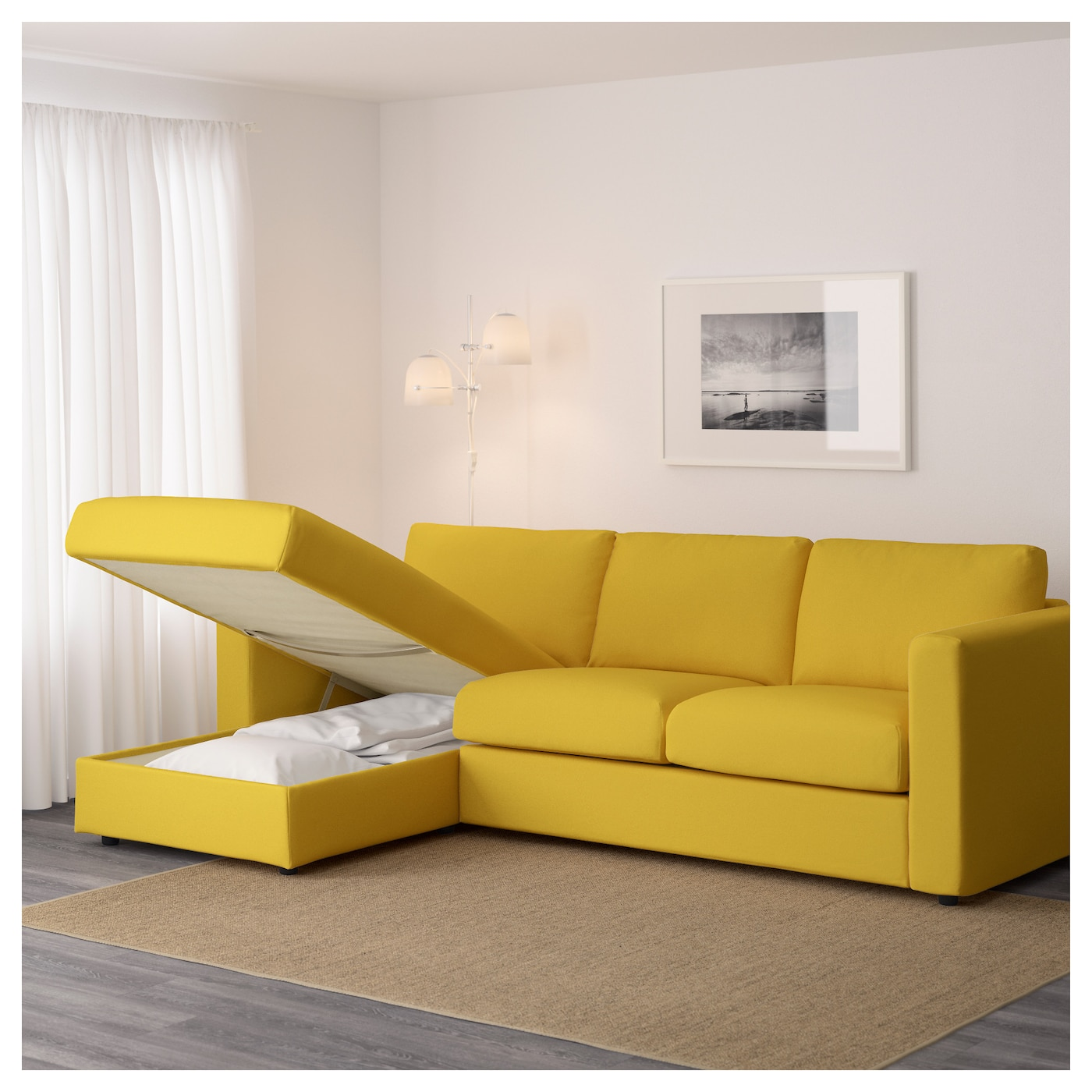VIMLE 3 seat sofa With chaise longue gräsbo golden yellow IKEA
