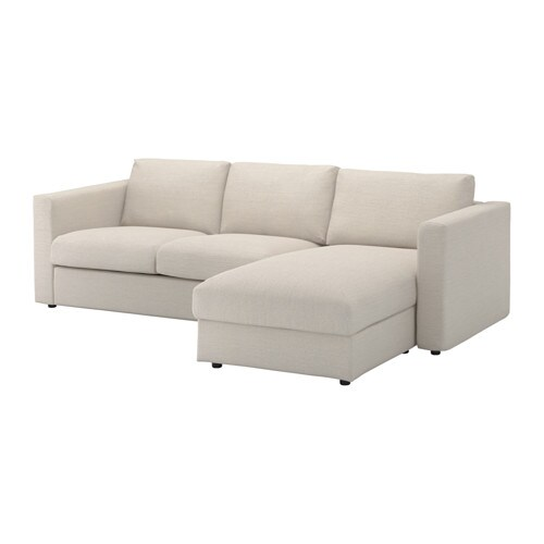 Vimle 3 seat sofa with chaise longue gunnared beige ikea for Chaise longue jardin ikea