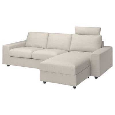 VIMLE 3-seat sofa with chaise longue, with wide armrests with headrest/Gunnared beige