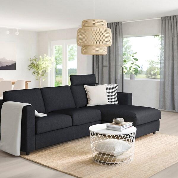 VIMLE 3-seat sofa with chaise longue with headrest/Tallmyra black/grey 103 cm 83 cm 68 cm 164 cm 252 cm 98 cm 125 cm 6 cm 15 cm 68 cm 222 cm 55 cm 48 cm
