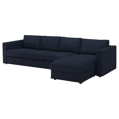 VIMLE 4-seat sofa, with chaise longue/Gräsbo black-blue