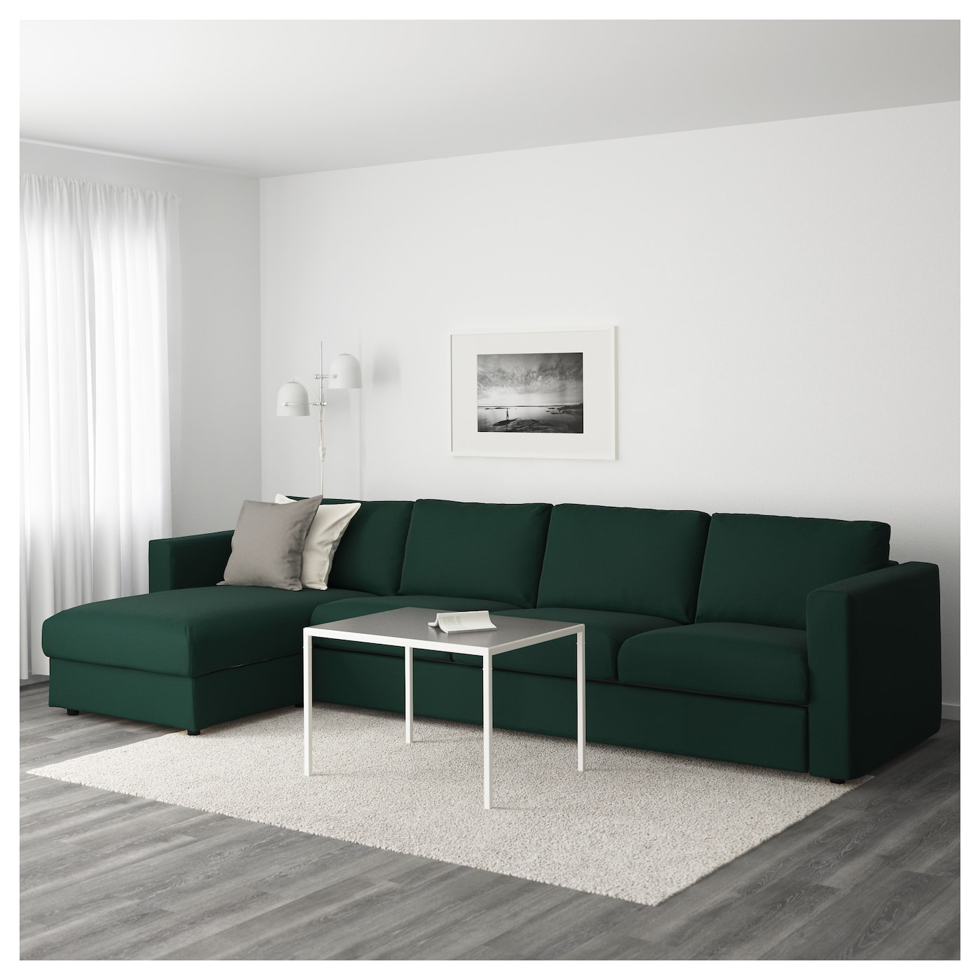 Vimle 4 seat sofa with chaise longue gunnared dark green for Green sectional sofa with chaise