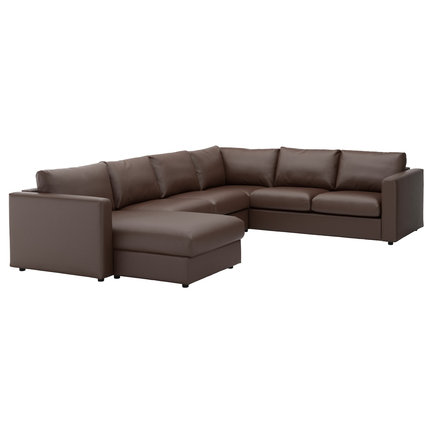 Vimle corner sofa 5 seat with chaise longue farsta dark for Brown sectional sofa with chaise