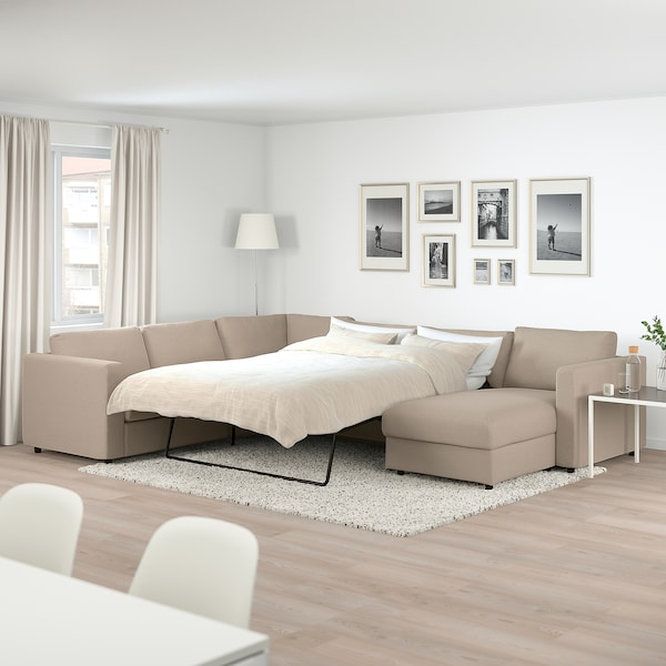 VIMLE Corner sofa-bed, 5-seat, with chaise longue/Tallmyra beige