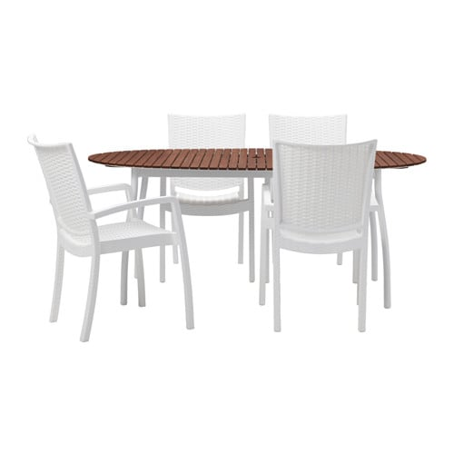 IKEA VINDALSÖ/INNAMO table+4 chairs w armrests, outdoor