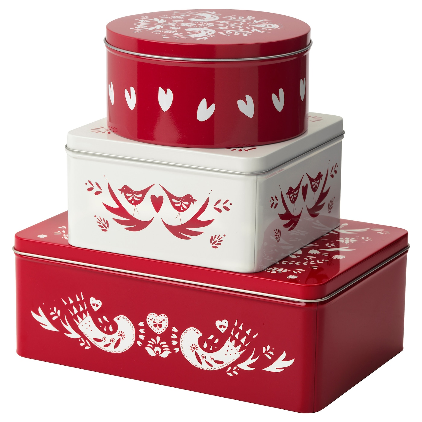 VINTER 2016 Tin With Lid Set Of 3 Red White IKEA