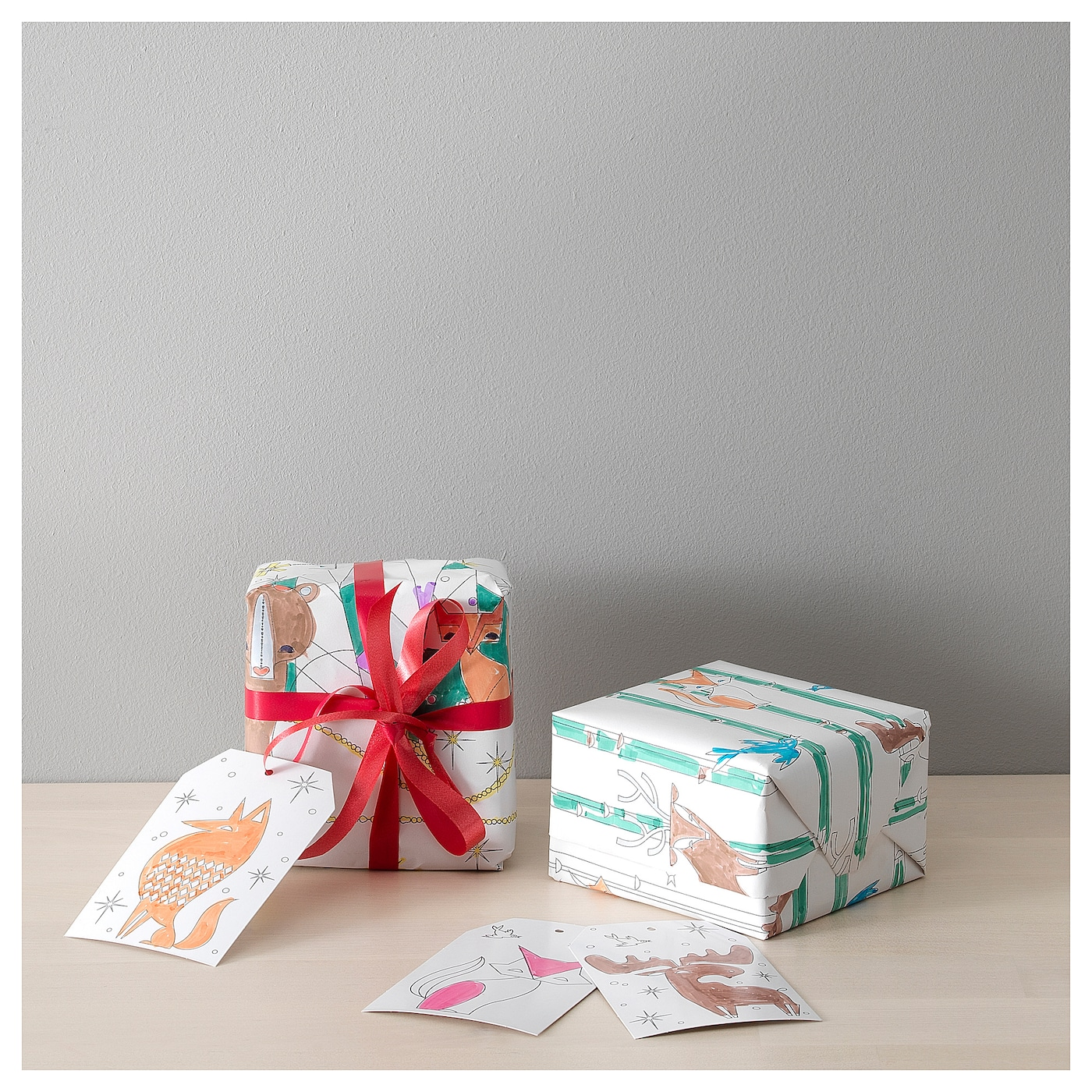 IKEA VINTER 2017 8-piece gift wrap and gift tag set