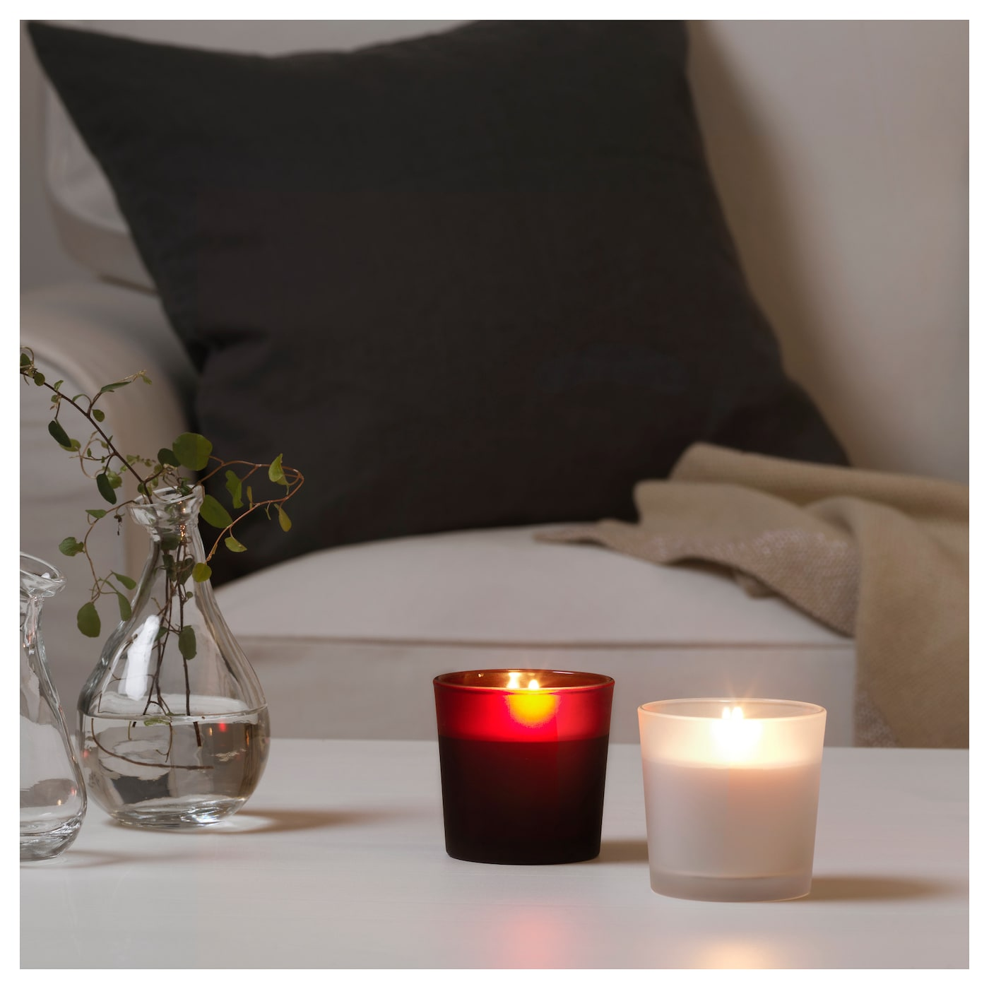 IKEA VINTER 2017 scented candle in glass A soft vanilla scent with hints of sweet berries.
