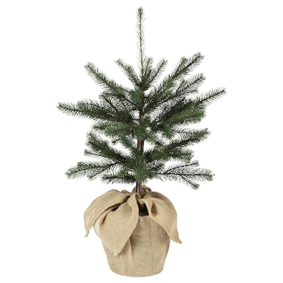 VINTER 2020 Artificial potted plant, in/outdoor jute/Christmas tree green, 19 cm