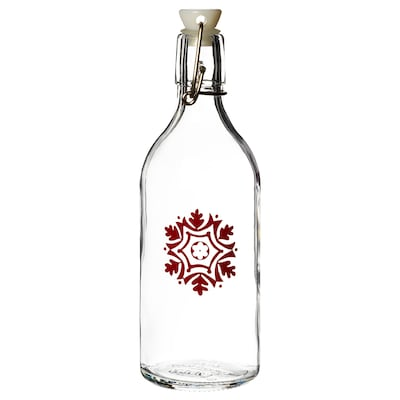 VINTER 2020 Bottle with stopper, glass/snowflake pattern red, 0.5 l