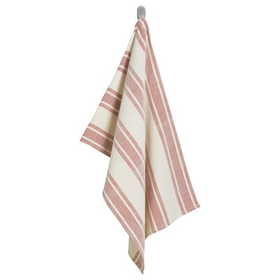 VINTER 2020 Hand towel, handmade off-white/red, 50x70 cm