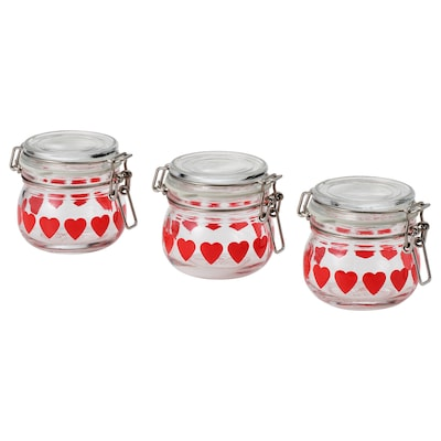 VINTER 2020 Jar with lid, clear glass/heart-pattern red, 13 cl