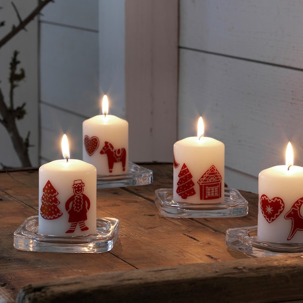 VINTER 2020 Unscented block candle, gingerbread pattern white/red, 8 cm
