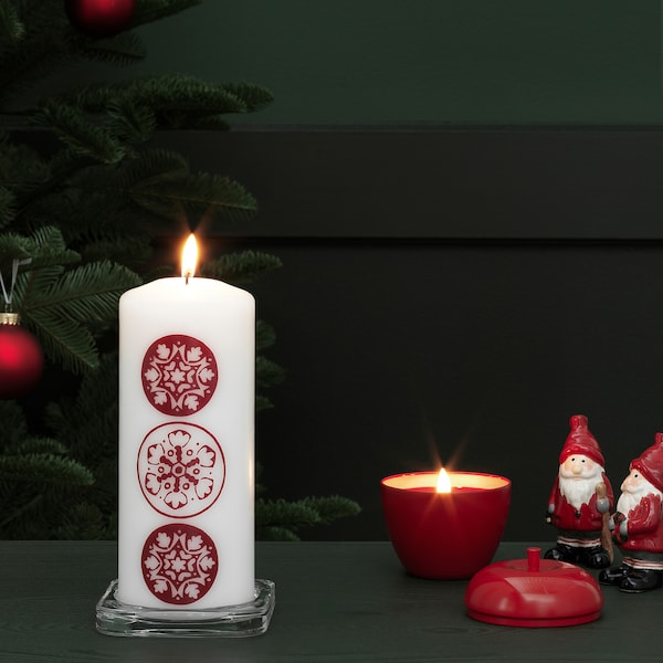 VINTER 2020 Unscented block candle, snowflake pattern white/red, 20 cm