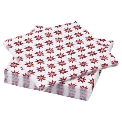 VINTER 2021 Paper napkin, star pattern white/red, 33x33 cm