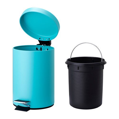 Vorgod pedal bin turquoise 3 l ikea for Turquoise bathroom bin