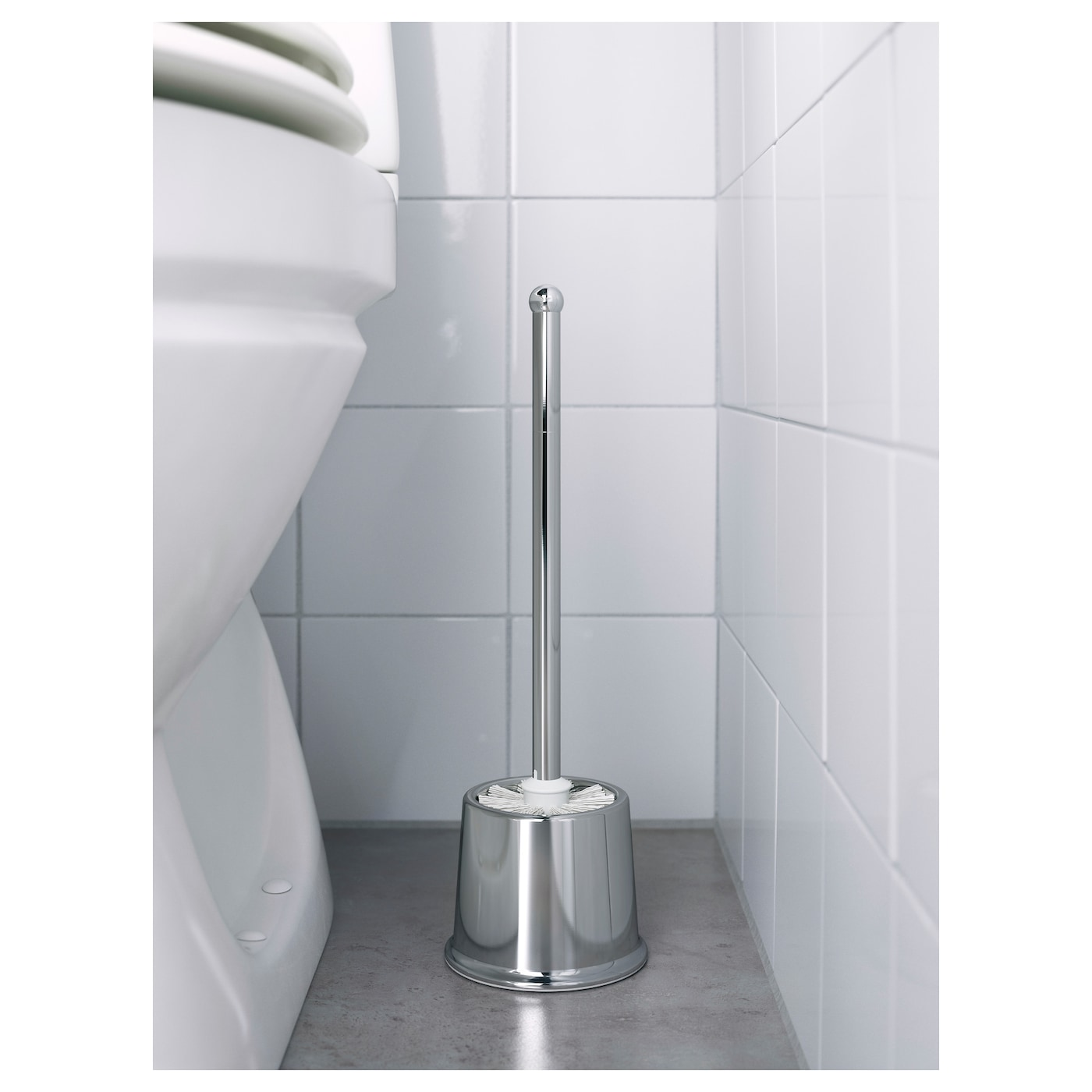 IKEA VOXNAN toilet brush The chrome finish is durable and resistant to corrosion.