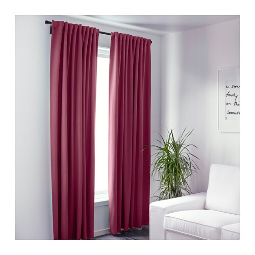 Werna Block Out Curtains 1 Pair Dark Red 145x300 Cm Ikea