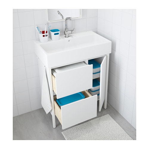 yddingen wash stand with 2 drawers 1 door white 74x90 cm ikea. Black Bedroom Furniture Sets. Home Design Ideas
