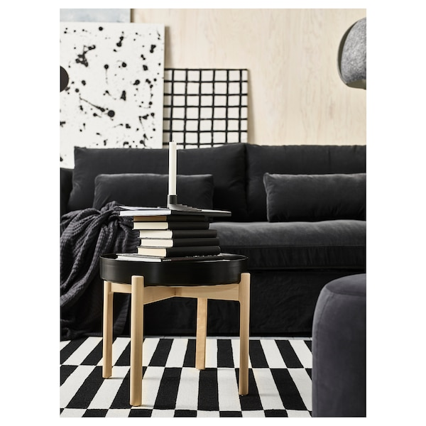 YPPERLIG Coffee table, dark grey/birch, 50 cm