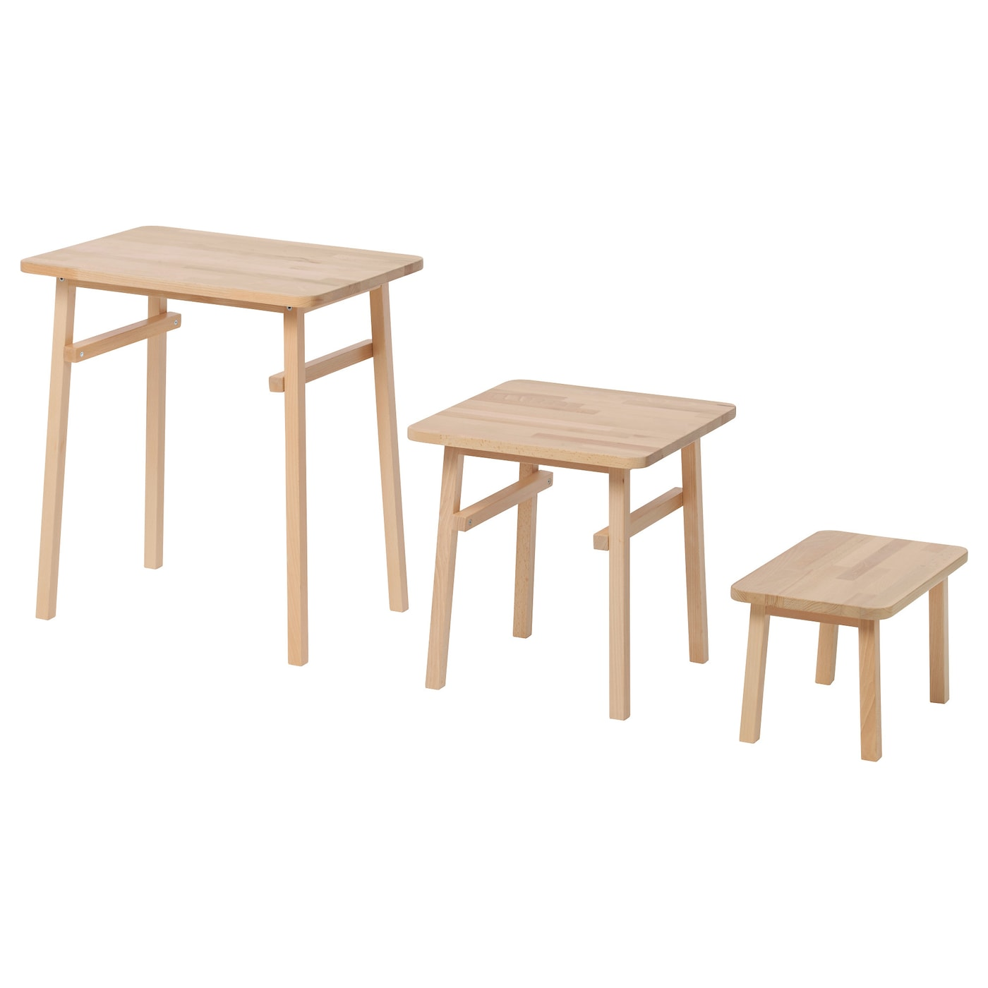 Ikea Ypperlig Nest Of Tables Set 3 Solid Beech Is A Hard Wearing