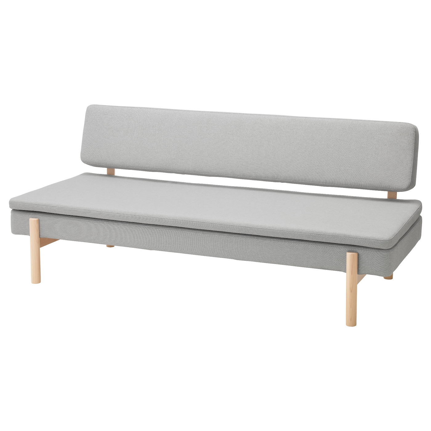 Ypperlig three seat sofa bed ramna light grey ikea for Ikea gray sofa