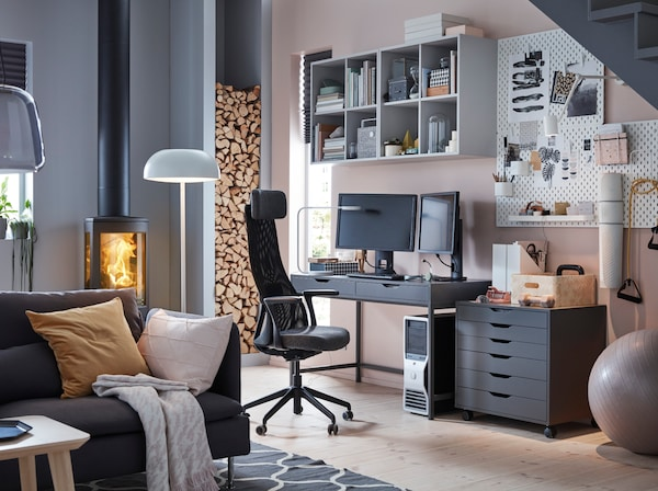 Domowe biuro ikea for How to fill empty corner in living room