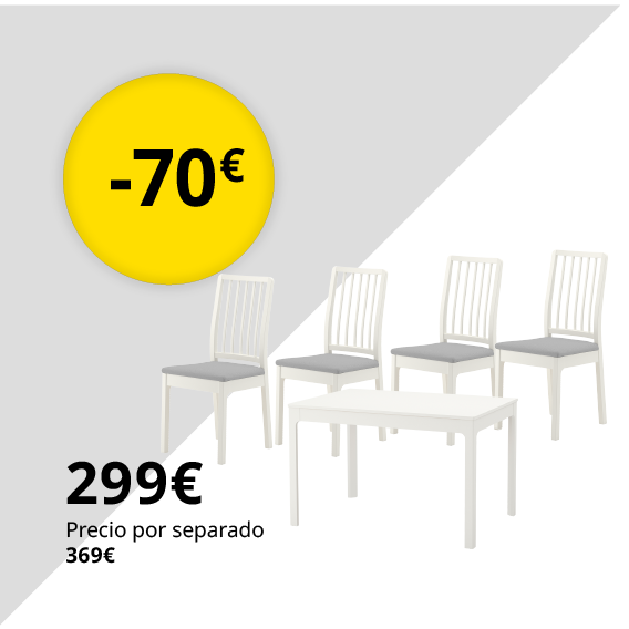 EKEDALEN / EKEDALEN Mesa con 4 sillas, blanco, Orrsta gris claro, 120/180 cm