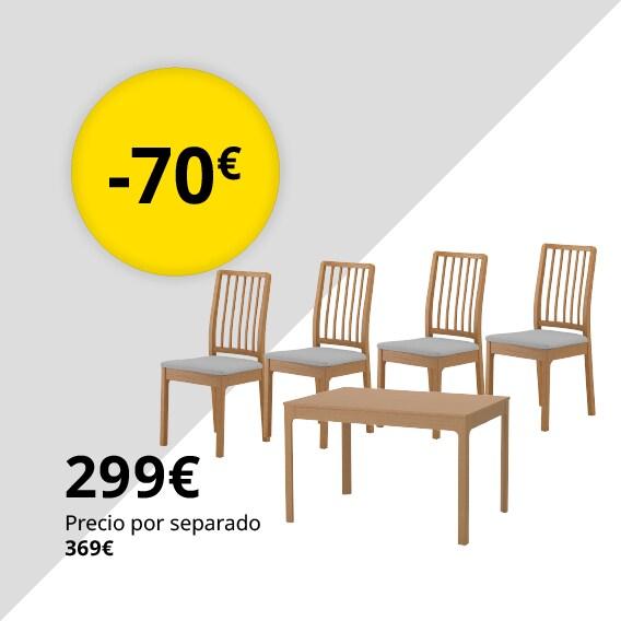EKEDALEN / EKEDALEN Mesa con 4 sillas, roble, Orrsta gris claro, 120/180 cm